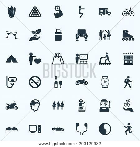 Elements Lineage, Night Club, Cyberspace And Other Synonyms Pose, Travel And Weightlifting.  Vector Illustration Set Of Simple Health Icons.