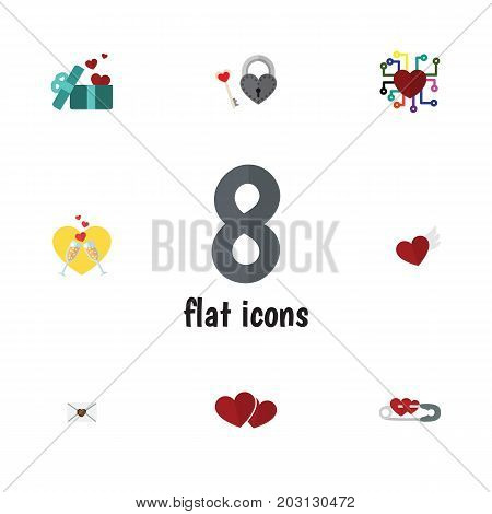 Flat Icon Love Set Of Key, Letter, Soul And Other Vector Objects