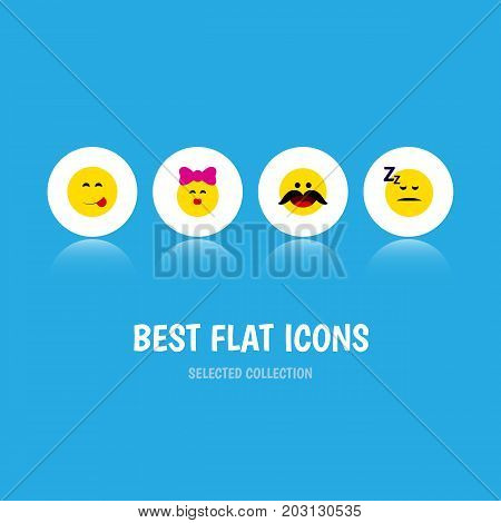 Flat Icon Expression Set Of Caress, Asleep, Delicious Food And Other Vector Objects