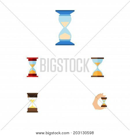 Flat Icon Timer Set Of Clock, Sandglass, Waiting Vector Objects