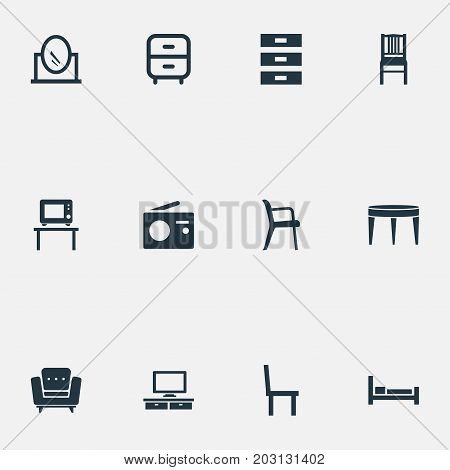 Elements Container, Chair, Bearings And Other Synonyms Armchair, Box And Table.  Vector Illustration Set Of Simple Furnishings Icons.
