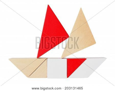 Boat silhouette made from tangram tans isolated on white
