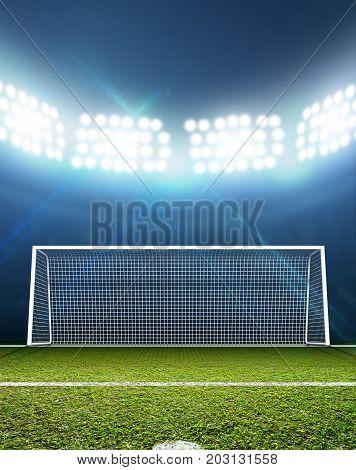 Sports Stadium And Soccer Goals