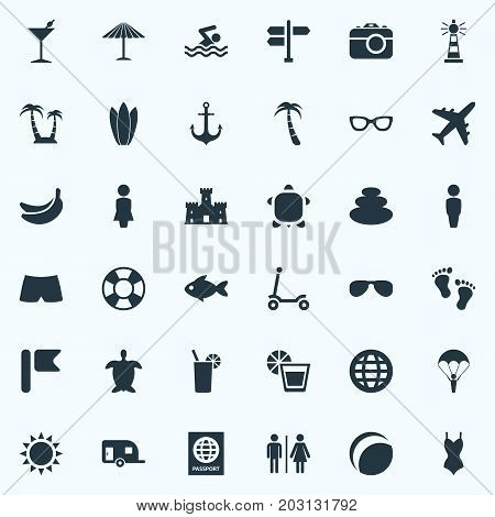 Elements Summer Fun, Eyeglasses, Tropical Fruits And Other Synonyms Pool, Sea And Lotus.  Vector Illustration Set Of Simple Seaside Icons.