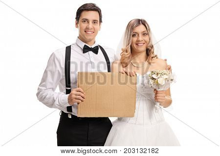 Young newlywed couple with blank cardboard sign isolated on white background