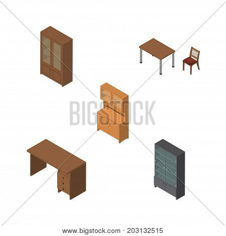 Isometric Design Set Of Cupboard, Cabinet, Sideboard And Other Vector Objects