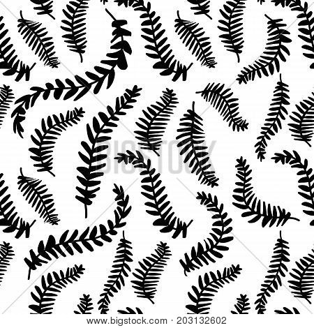 Hand drawn delicate decorative vintage leaves in black and white. Elegant seamless pattern illustration.
