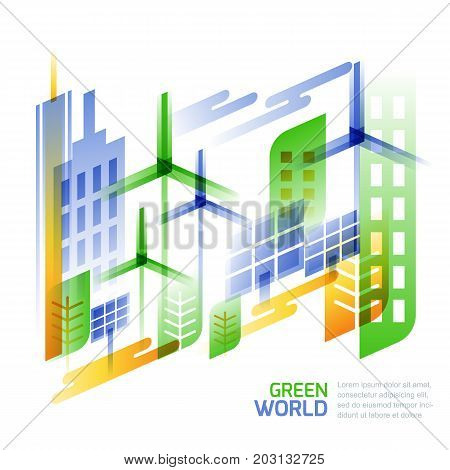 Environmental, Ecology And Saving Nature Concept. Vector Illustration Of Cityscape,wind Turbines, So