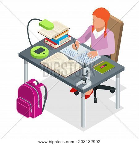 Isometric young people and student concept. A girl of 6-8 years old the student sits at the table and writes. Homework or Lesson. Isolated on white background.
