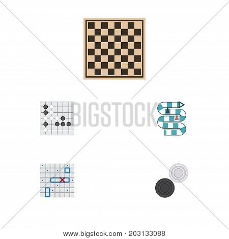 Flat Icon Entertainment Set Of Chess Table, Sea Fight, Chequer And Other Vector Objects