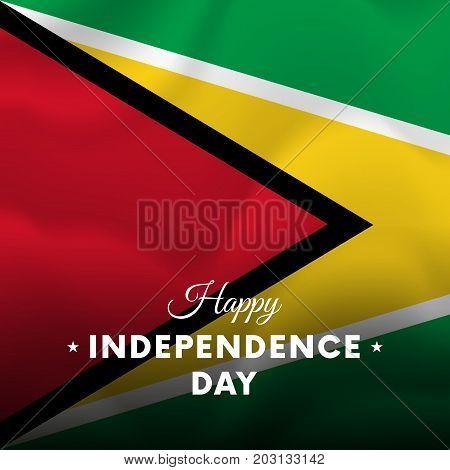 Banner or poster of Guyana independence day celebration. Waving flag. Vector illustration.