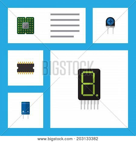 Flat Icon Electronics Set Of Calculate, Transistor, Transducer And Other Vector Objects
