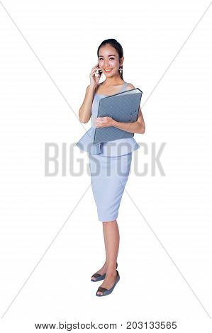 Beautiful Young Asian Business Woman Hold Smart Phone And File