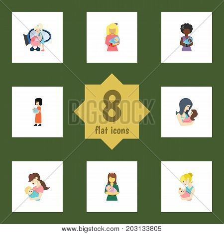 Flat Icon Mam Set Of Mam, Parent, Child And Other Vector Objects