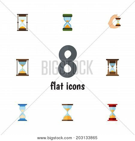 Flat Icon Hourglass Set Of Waiting, Minute Measuring, Instrument And Other Vector Objects