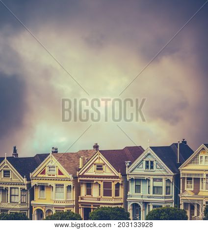 Beautiful Victorian Terrace Houses With Stormy Sky And Copy Space