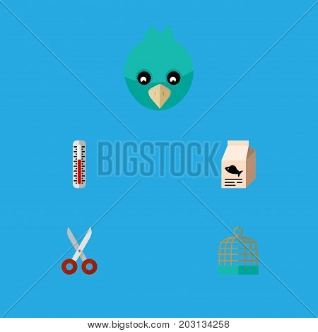 Flat Icon Pets Set Of Bird Prison, Sparrow, Shears And Other Vector Objects