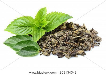 Dry green tea leaves of fresh mint.Isolated closeup on white background.
