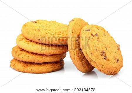 Appetizing oatmeal cookies with chocolate chips isolated on white background.
