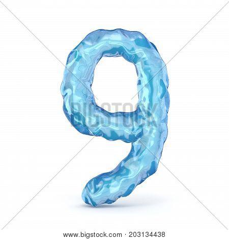Ice Font Number 9 Nine 3D