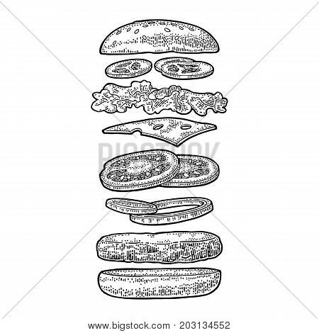 Burger with flying ingredients include bun tomato salad cheese onion cucumber. Vector black vintage engraving Illustration isolated on white background. For vertical poster menu banner