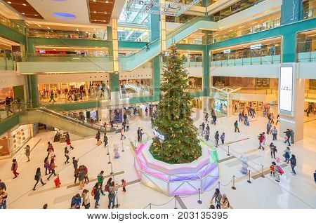 HONG KONG - DECEMBER 26, 2015: Xmas tree at New Town Plaza. New Town Plaza is a shopping mall in the town centre of Sha Tin in Hong Kong.