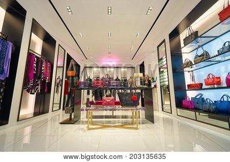 HONG KONG - DECEMBER 26, 2015: inside Diane von Furstenberg store at a shopping center in Hong Kong. Shopping is a widely popular social activity in Hong Kong.