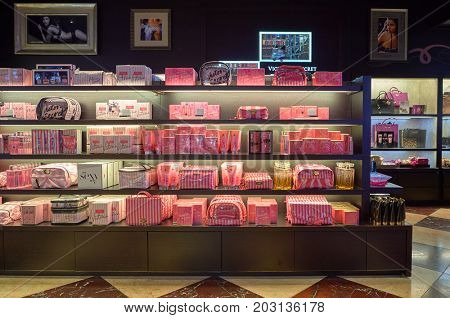 HONG KONG - NOVEMBER 02, 2015: inside a Victoria's Secret store in Hong Kong. Victoria's Secret is the largest American retailer of women's lingerie.