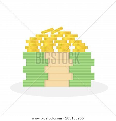 Pile of gold coins. Stack of dollars. Big money. Pile of cash. Vector isolated icon.