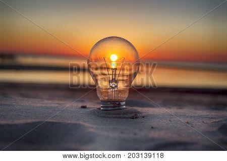 lampara atardecer playa arena idea color concepto