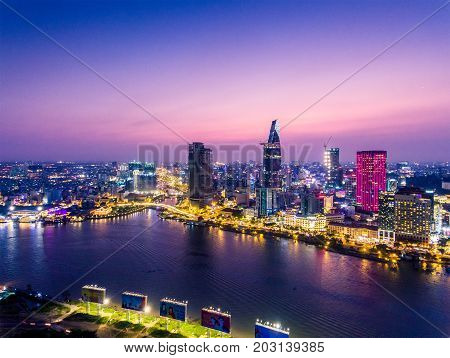HO CHI MINH, VIETNAM - MAY 15, 2017: Aerial view of Ho Chi Minh city, Vietnam. Beauty skyscrapers along river light smooth down urban development in Ho Chi Minh City, Vietnam.