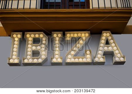 Ibiza retro light neon sign writing