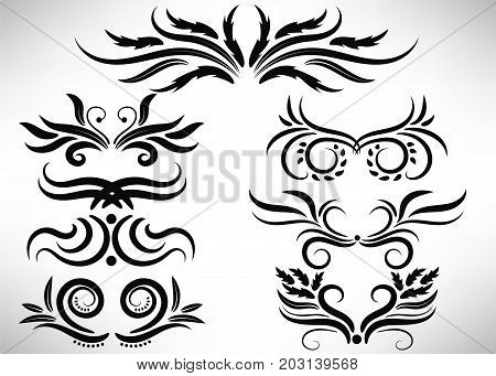 Abstract black curly design element set isolated on white background. Dividers. Swirls. Vector illustration.