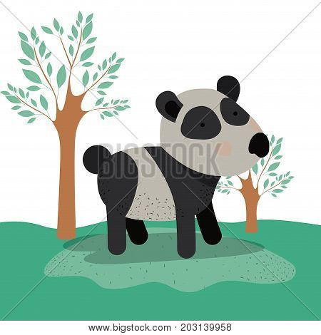 panda bear animal caricature in forest landscape background vector illustration