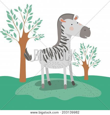 zebra animal caricature in forest landscape background vector illustration