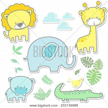 vector cartoon illustration of six cute baby animals and jungle leaves isolated on white background, ideal for nursery art decoration or scrapbook projects