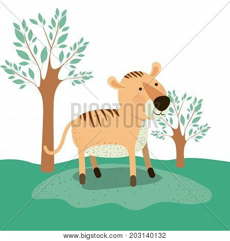 tiger animal caricature in forest landscape background vector illustration