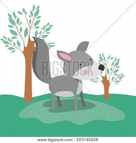 wolf animal caricature in forest landscape background vector illustration