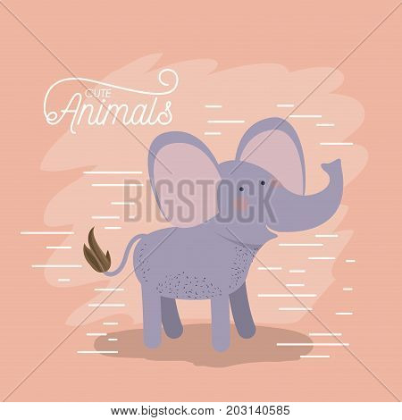 elephant animal caricature in color background with lines vector illustration