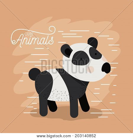 panda bear animal caricature in color background with lines vector illustration