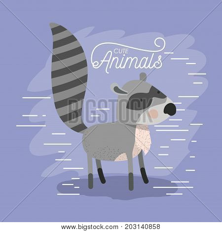 raccoon animal caricature in color background with lines vector illustration