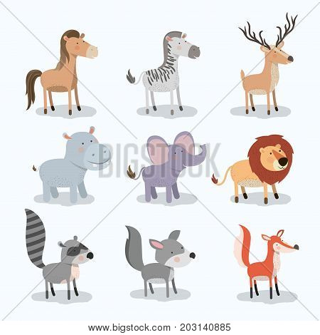 set animal caricature of wildlife in white background vector illustration