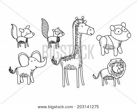 set animal caricature silhouette on white background vector illustration