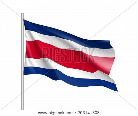 Waving flag of Costa Rica. Illustration of North America country flag on flagpole. 3d vector icon isolated on white background