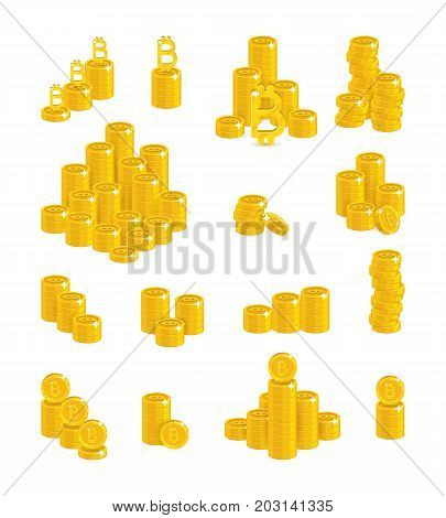 Bitcoin stacks count. Virtual currency managing transactions, mining calculator, peer-to-peer network. Cartoon vector illustration on white background