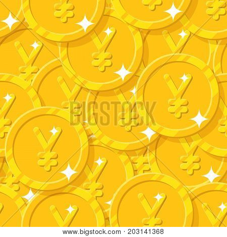Placer gold Chinese yuan or Japanese yen seamless pattern. Background of gold yuan or yen as a pattern for designers and illustrators. Cover of gold pieces vector illustration poster
