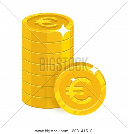 Piles gold euro isolated cartoon icon. Three heaps of gold euro and euro signs for designers and illustrators. Gold stacks of pieces in the form of a vector illustration
