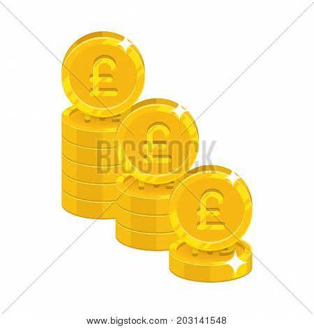 Piles gold pounds isolated cartoon icon. Three heaps of gold pounds and pound signs for designers and illustrators. Gold stacks of pieces in the form of a vector illustration
