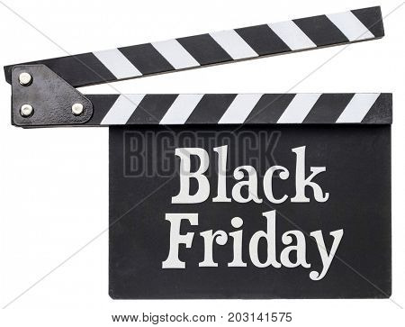 Black Friday title in white chalk on clapboard isolated on white