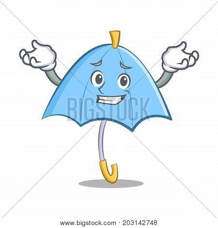 Grinning blue umbrella character cartoon vector illustration